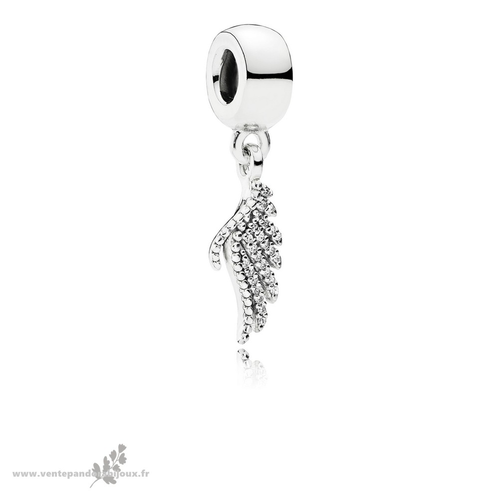 Bon Marché Pandora Pandora Passions Charms Chic Glamour Majestueux Feather Dangle Charm Clear Cz